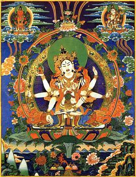 Победоносный Будда Ушнишавиджая, которого чтят за избавления от страха смерти и болезней духа. В образе богини это просветленная мысль всех Будд, богиня долгой жизни.